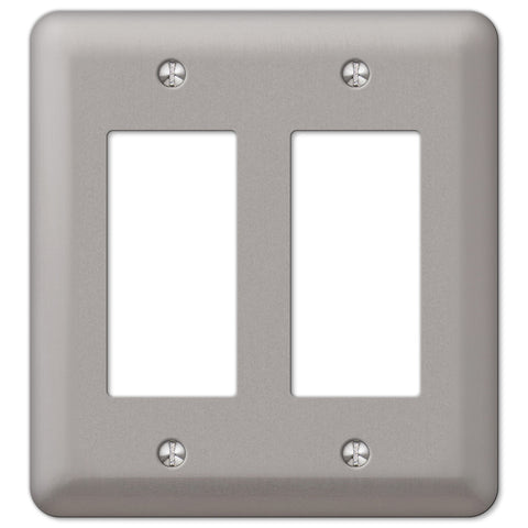 Devon Brushed Nickel Steel - 2 Rocker Wallplate - Wallplate Warehouse
