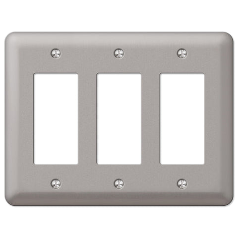 Devon Brushed Nickel Steel - 3 Rocker Wallplate