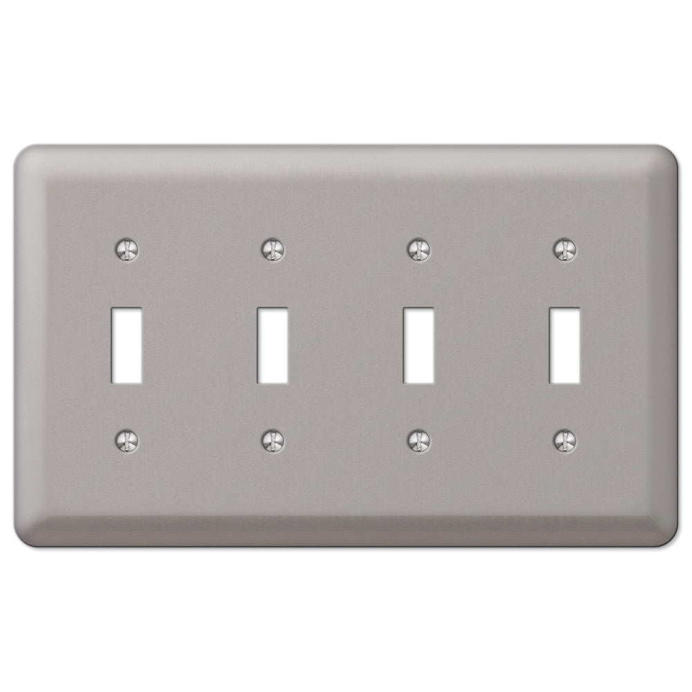 Devon Brushed Nickel Steel - 4 Toggle Wallplate - Wallplate Warehouse