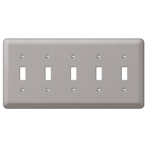 Devon Brushed Nickel Steel - 5 Toggle Wallplate - Wallplate Warehouse