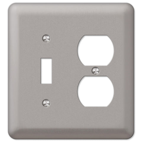 Devon Brushed Nickel Steel - 1 Toggle / 1 Duplex Outlet Wallplate - Wallplate Warehouse