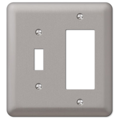 Devon Brushed Nickel Steel - 1 Toggle / 1 Rocker Wallplate - Wallplate Warehouse