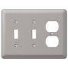 Devon Brushed Nickel Steel - 2 Toggle / 1 Duplex Outlet Wallplate - Wallplate Warehouse