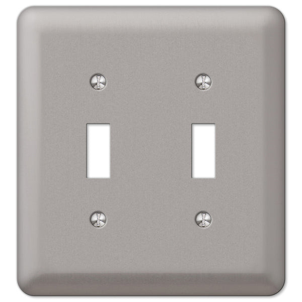 Devon Brushed Nickel Steel - 2 Toggle Wallplate - Wallplate Warehouse