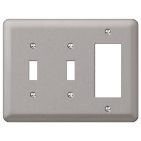 Devon Brushed Nickel Steel - 2 Toggle / 1 Rocker Wallplate - Wallplate Warehouse
