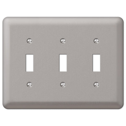 Devon Brushed Nickel Steel - 3 Toggle Wallplate - Wallplate Warehouse