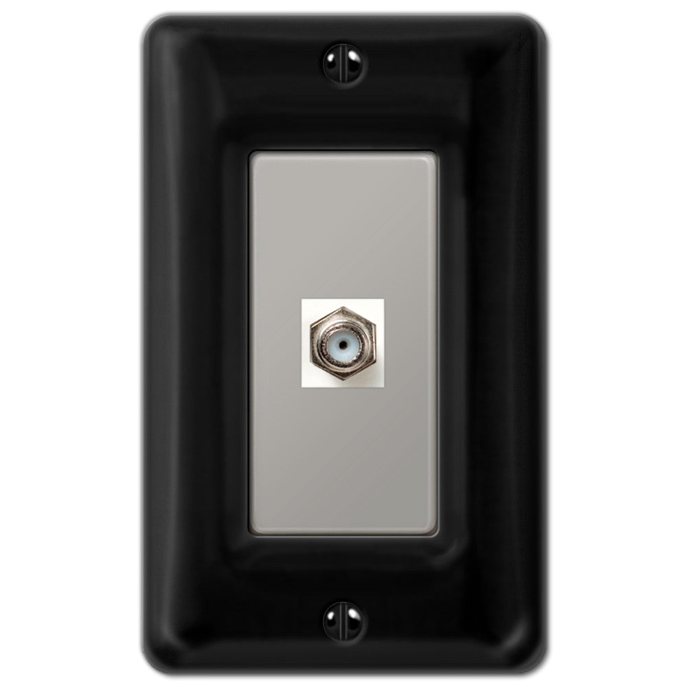 Allena Black Ceramic - 1 Cable Jack Wallplate - Wallplate Warehouse
