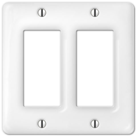 Allena White Ceramic - 2 Rocker Wallplate - Wallplate Warehouse