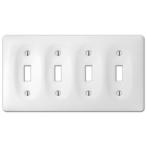Allena White Ceramic - 4 Toggle Wallplate - Wallplate Warehouse