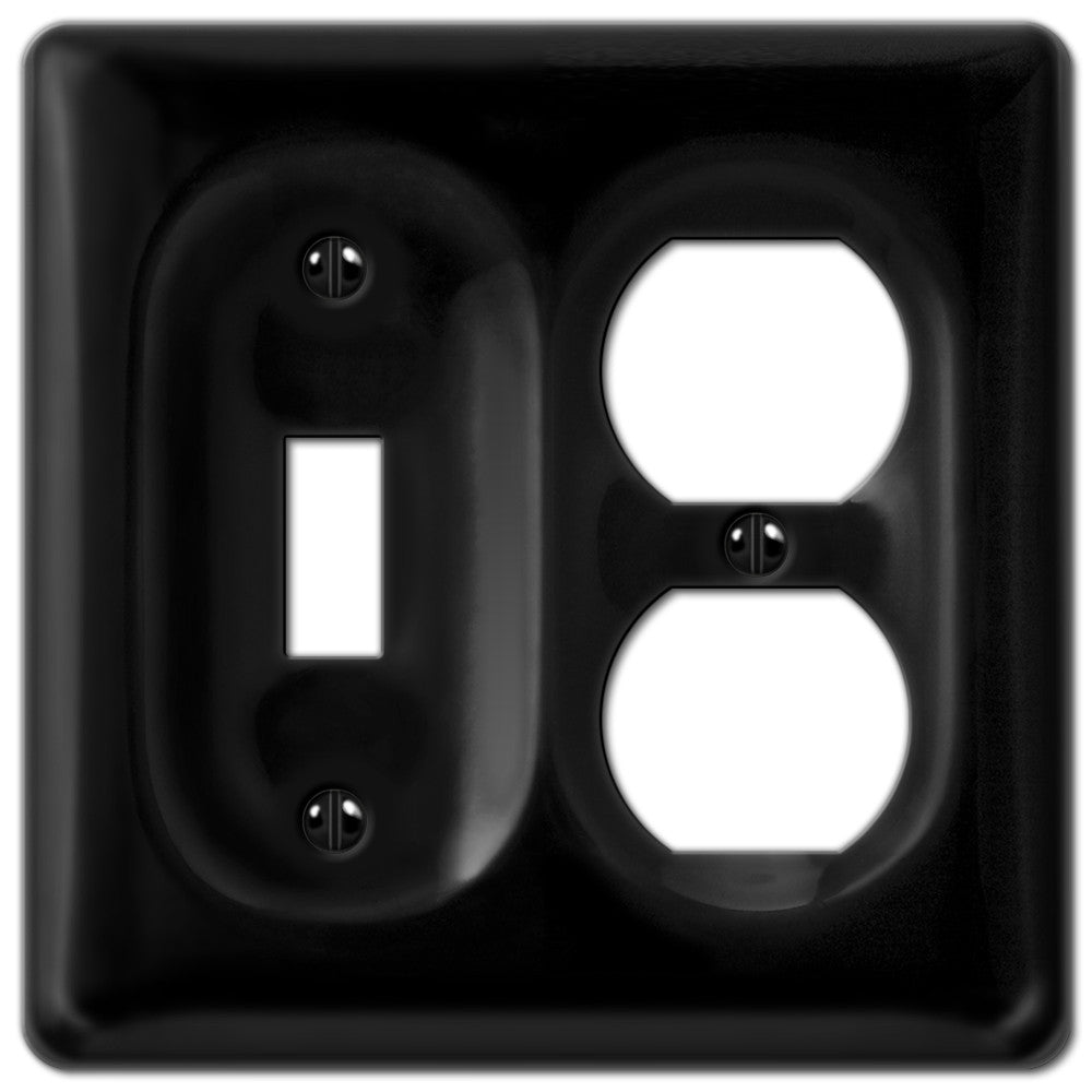 Allena Black Ceramic - 1 Toggle / 1 Duplex Outlet Wallplate - Wallplate Warehouse