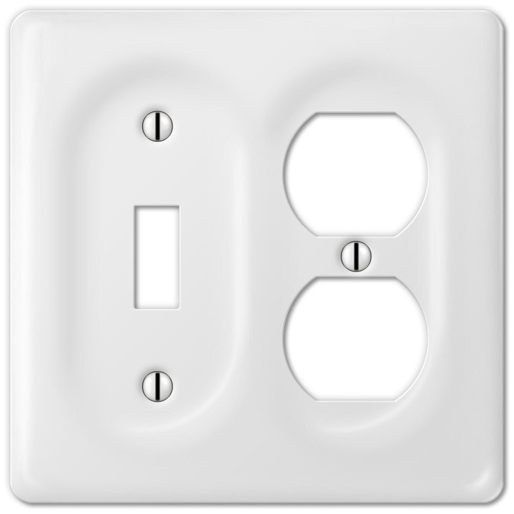 Allena White Ceramic - 1 Toggle / 1 Duplex Outlet Wallplate - Wallplate Warehouse