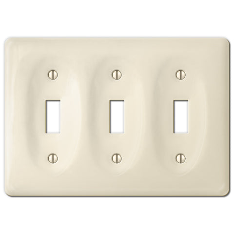 Allena Biscuit Ceramic - 3 Toggle Wallplate - Wallplate Warehouse