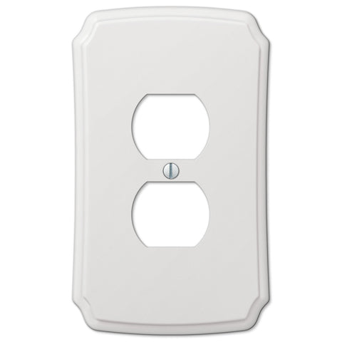 Classic White Plastic - 1 Duplex Outlet Wallplate - Wallplate Warehouse