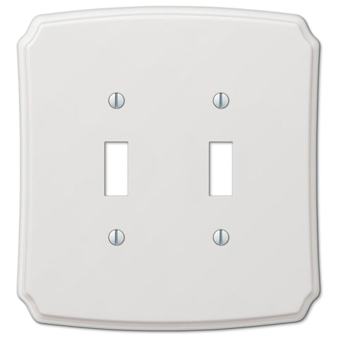 Classic White Plastic - 2 Toggle Wallplate - Wallplate Warehouse