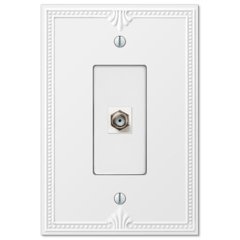 Richmond White Plastic - 1 Cable Jack Wallplate - Wallplate Warehouse