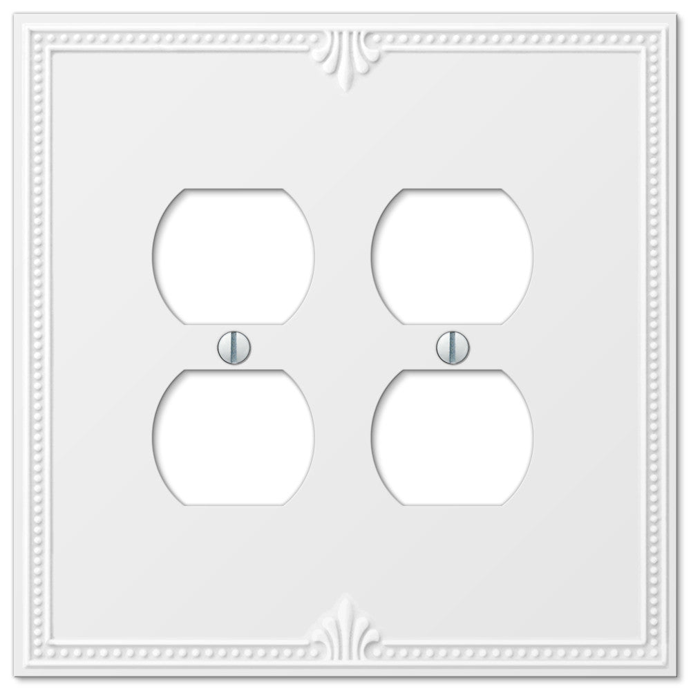 Richmond White Plastic - 2 Duplex Outlet Wallplate - Wallplate Warehouse