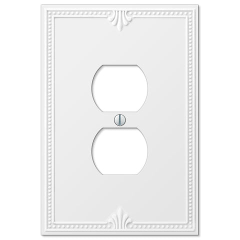 Richmond White Plastic - 1 Duplex Outlet Wallplate - Wallplate Warehouse