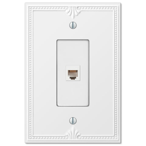 Richmond White Plastic - 1 Phone Jack Wallplate - Wallplate Warehouse