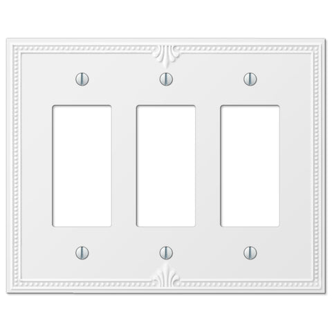 Richmond White Plastic - 3 Rocker Wallplate - Wallplate Warehouse