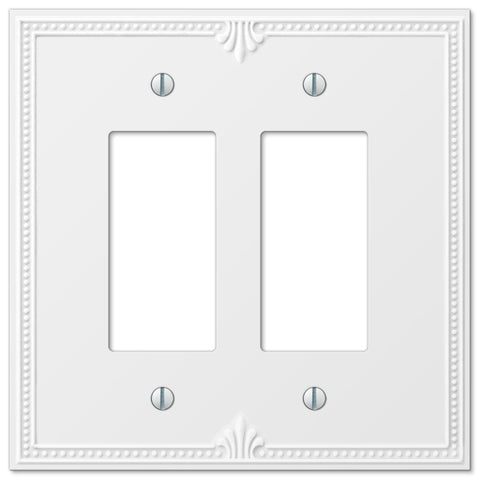 Richmond White Plastic - 2 Rocker Wallplate - Wallplate Warehouse