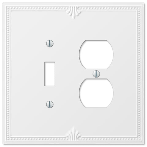 Richmond White Plastic - 1 Toggle / 1 Duplex Outlet Wallplate - Wallplate Warehouse