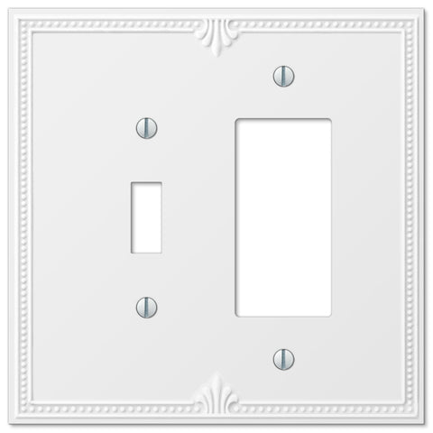 Richmond White Plastic - 1 Toggle / 1 Rocker Wallplate - Wallplate Warehouse