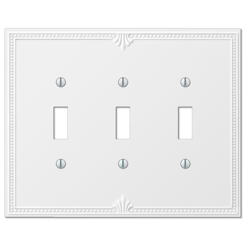 Richmond White Plastic - 3 Toggle Wallplate - Wallplate Warehouse