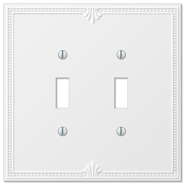 Richmond White Plastic - 2 Toggle Wallplate - Wallplate Warehouse