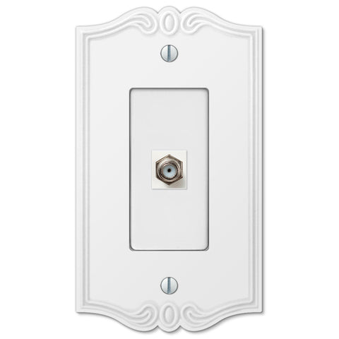 Charleston White Plastic - 1 Cable Jack Wallplate - Wallplate Warehouse