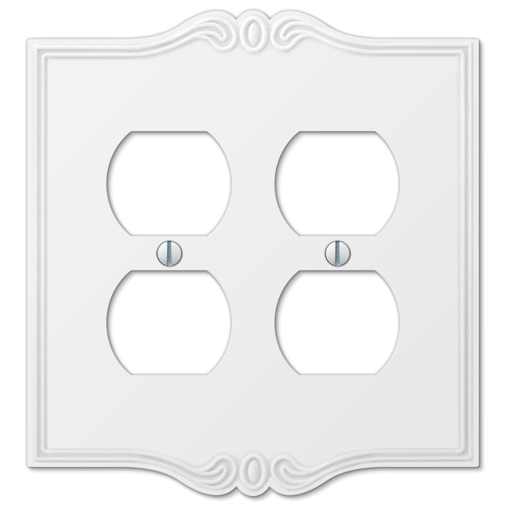 Charleston White Plastic - 2 Duplex Outlet Wallplate - Wallplate Warehouse