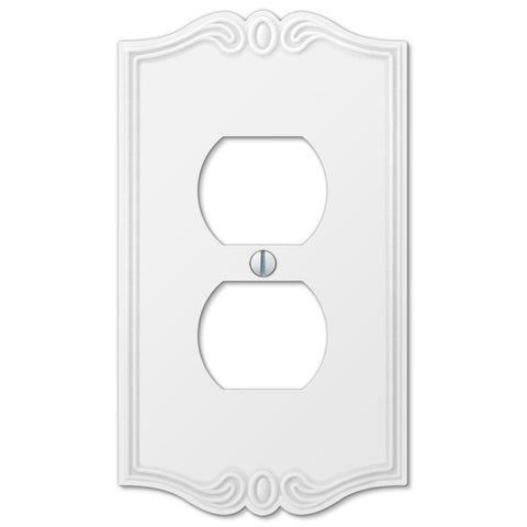 Charleston White Plastic - 1 Duplex Outlet Wallplate - Wallplate Warehouse