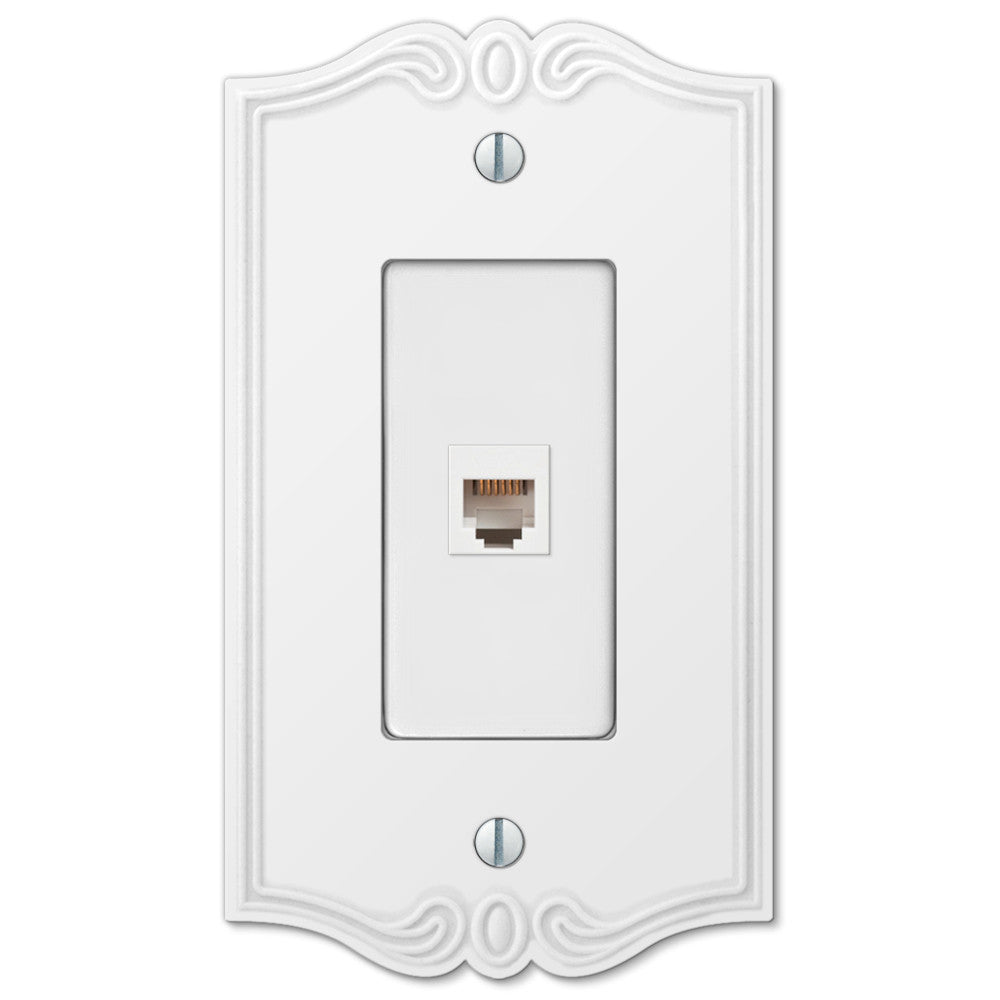 Charleston White Plastic - 1 Phone Jack Wallplate - Wallplate Warehouse