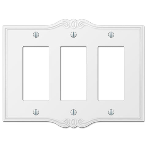 Charleston White Plastic - 3 Rocker Wallplate - Wallplate Warehouse