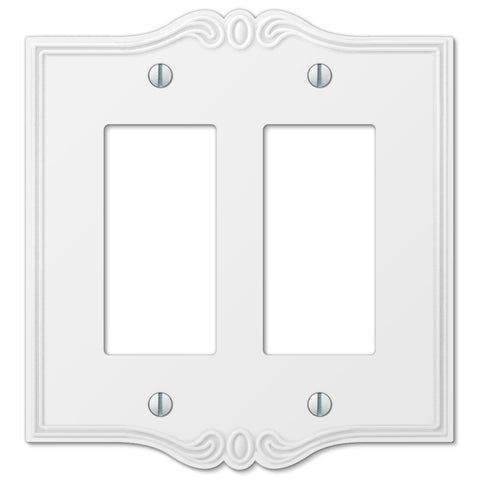 Charleston White Plastic - 2 Rocker Wallplate - Wallplate Warehouse