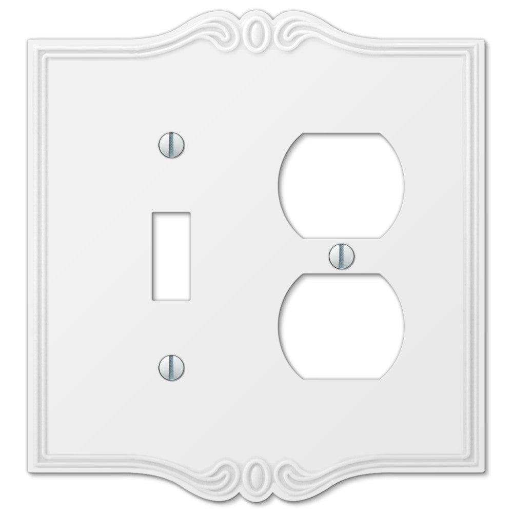 Charleston White Plastic - 1 Toggle / 1 Duplex Outlet Wallplate - Wallplate Warehouse