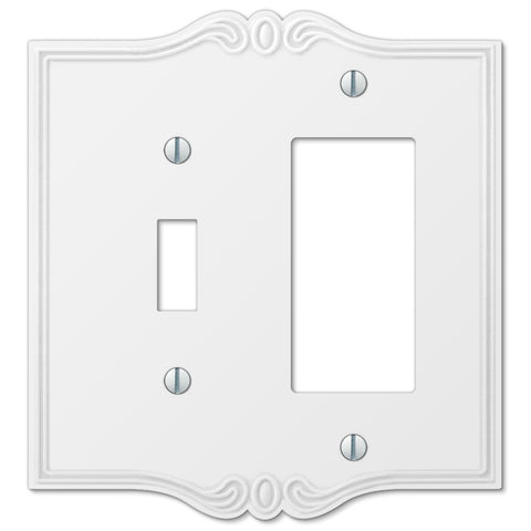 Charleston White Plastic - 1 Toggle / 1 Rocker Wallplate - Wallplate Warehouse