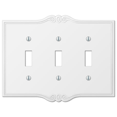 Charleston White Plastic - 3 Toggle Wallplate - Wallplate Warehouse