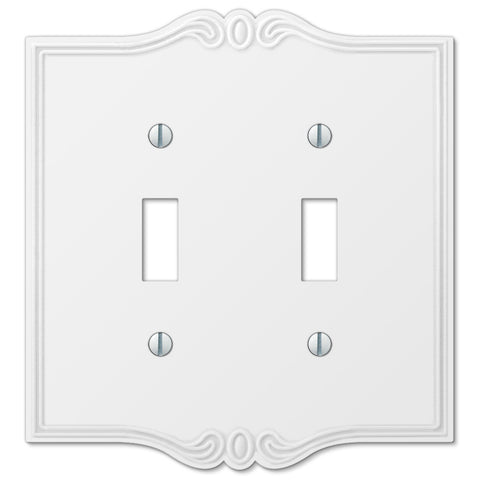 Charleston White Plastic - 2 Toggle Wallplate - Wallplate Warehouse