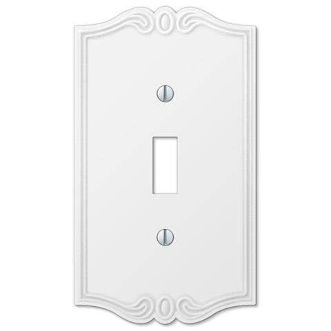 Charleston White Plastic - 1 Toggle Wallplate - Wallplate Warehouse