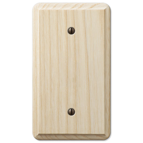 Contemporary Unfinished Ash Wood - 1 Blank Wallplate - Wallplate Warehouse