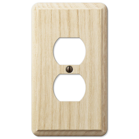 Contemporary Unfinished Ash Wood - 1 Duplex Outlet Wallplate - Wallplate Warehouse