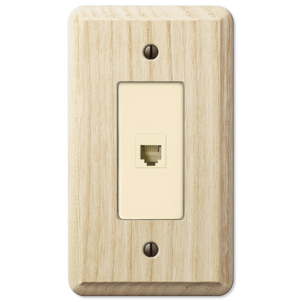 Contemporary Unfinished Ash Wood - 1 Phone Jack Wallplate - Wallplate Warehouse
