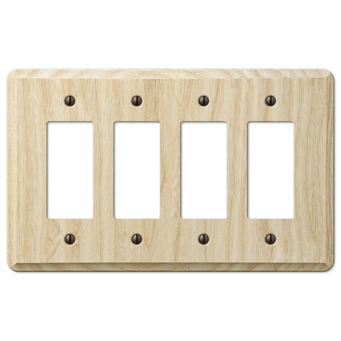 Contemporary Unfinished Ash Wood - 4 Rocker Wallplate - Wallplate Warehouse