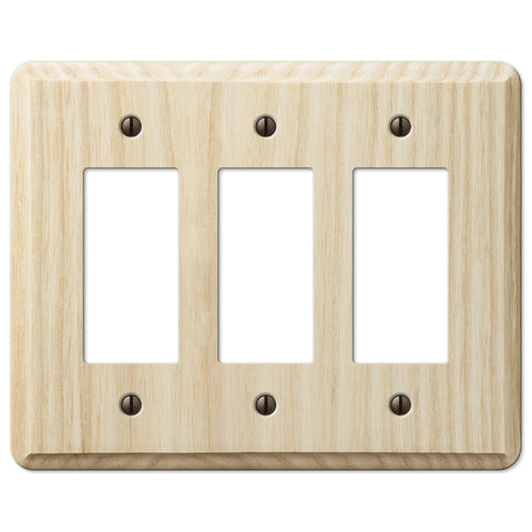 Contemporary Unfinished Ash Wood - 3 Rocker Wallplate - Wallplate Warehouse