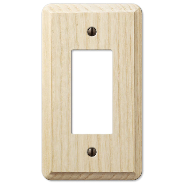 Contemporary Unfinished Ash Wood - 1 Rocker Wallplate - Wallplate Warehouse