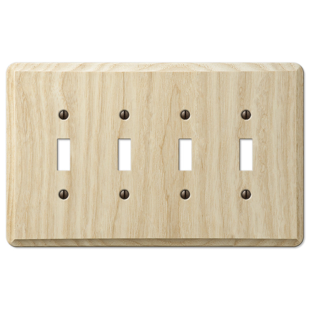 Contemporary Unfinished Ash Wood - 4 Toggle Wallplate - Wallplate Warehouse