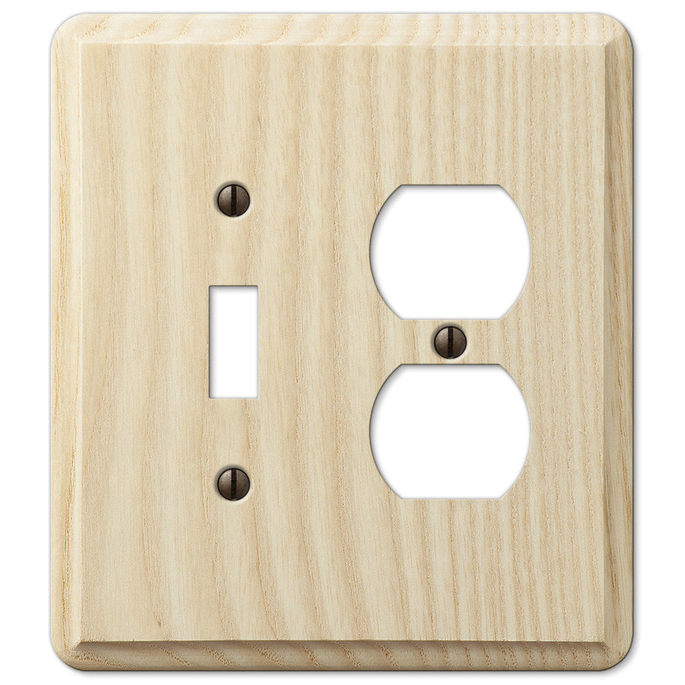 Contemporary Unfinished Ash Wood - 1 Toggle / 1 Duplex Outlet Wallplate - Wallplate Warehouse