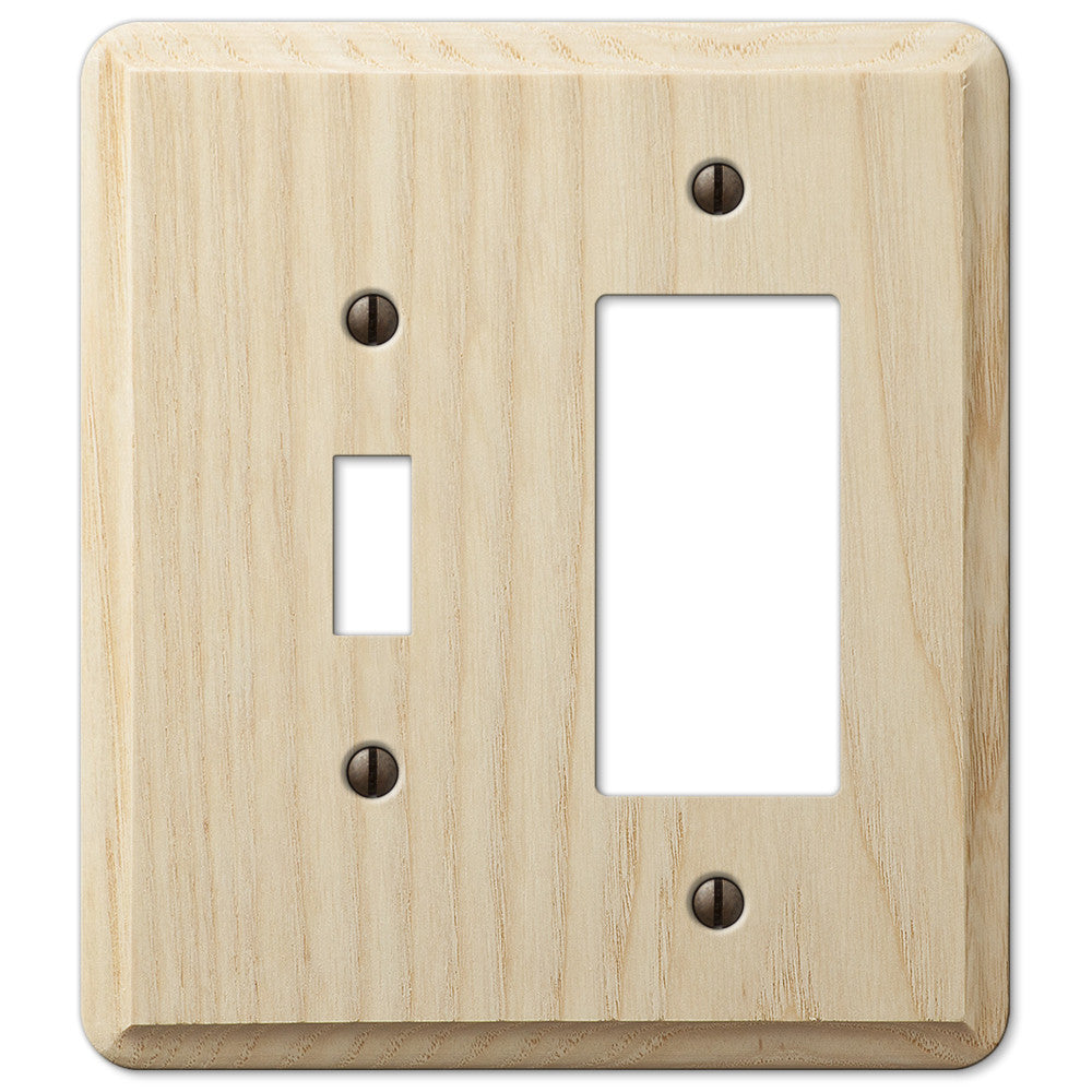 Contemporary Unfinished Ash Wood - 1 Toggle / 1 Rocker Wallplate - Wallplate Warehouse