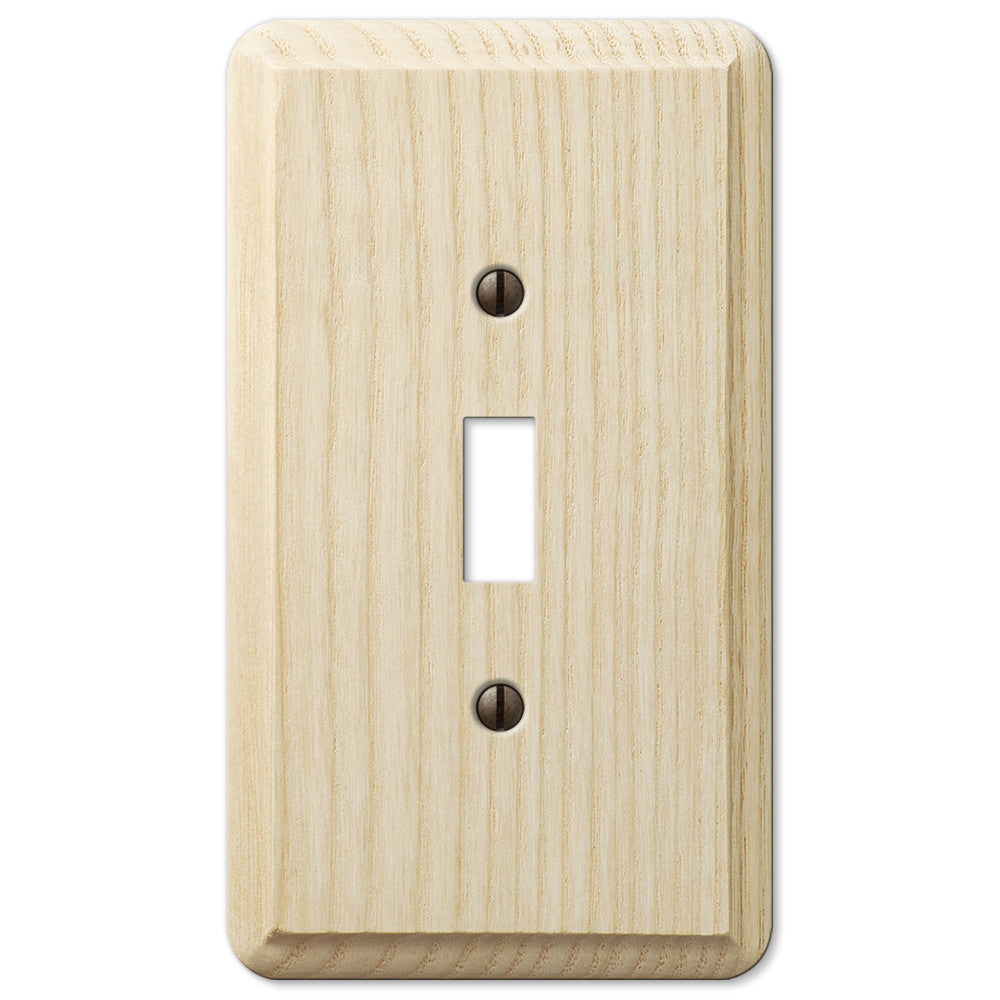 Contemporary Unfinished Ash Wood - 1 Toggle Wallplate - Wallplate Warehouse