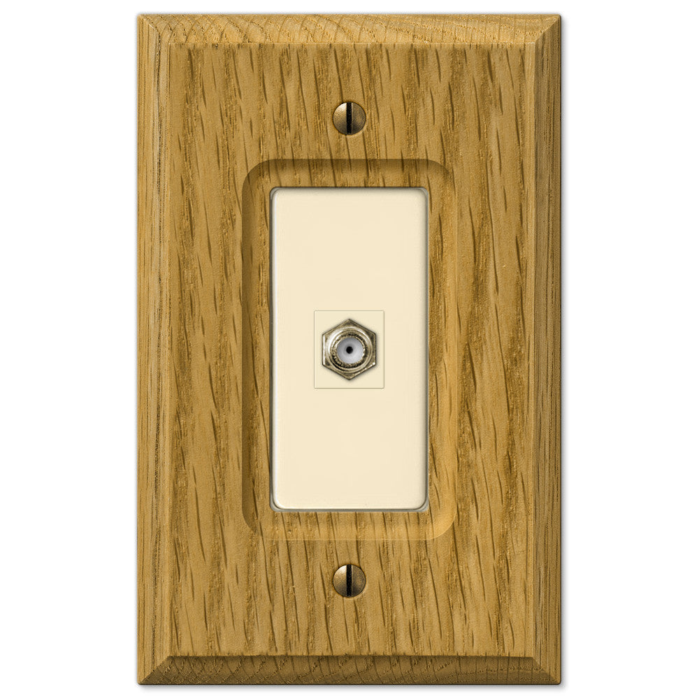 Carson Light Oak Wood - 1 Cable Jack Wallplate - Wallplate Warehouse